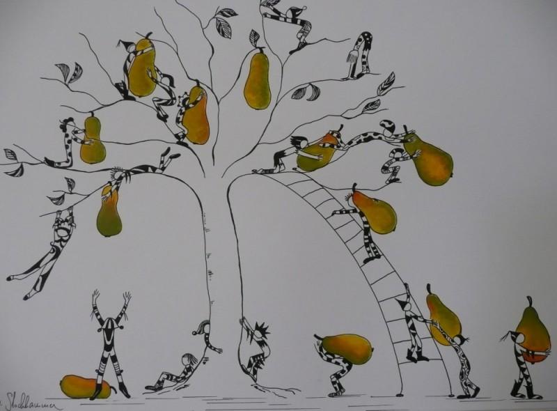 Michaela Stockhammer. Tinte, Acryl. 40x 50 cm. Tit. Die Birnenernte   Art On Screen - [AOS] Magazine