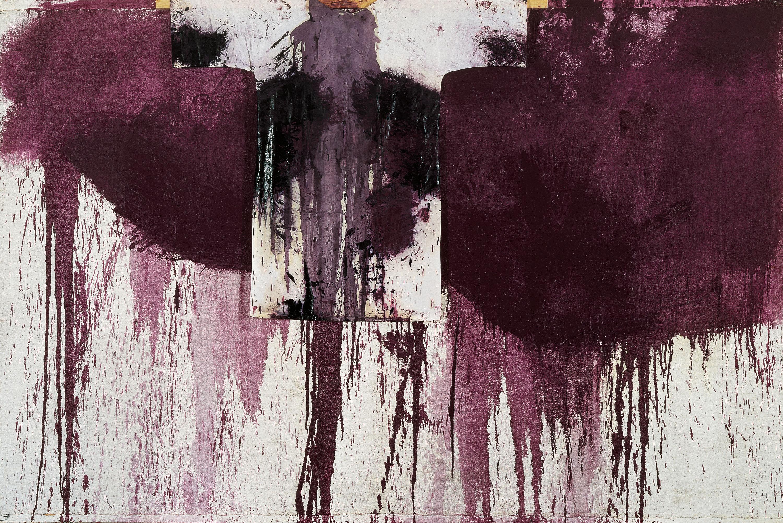 Hermann Nitsch, Kreuzwegstation, 1990, Öl, Blut und Malhemd auf weißgrundierter Jute, 200 x 300 cm, © BILDRECHT Wien, 2016, Foto Archiv Nitsch