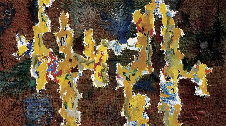 Max Weiler, In den Raum geschrieben (Malerei - Gelb auf Rot), 195859, Eitempera und Öl auf Rupfen, 109 x 195 cm, © Nachlass des Künstlers, Foto Franz Schachinger, Wien