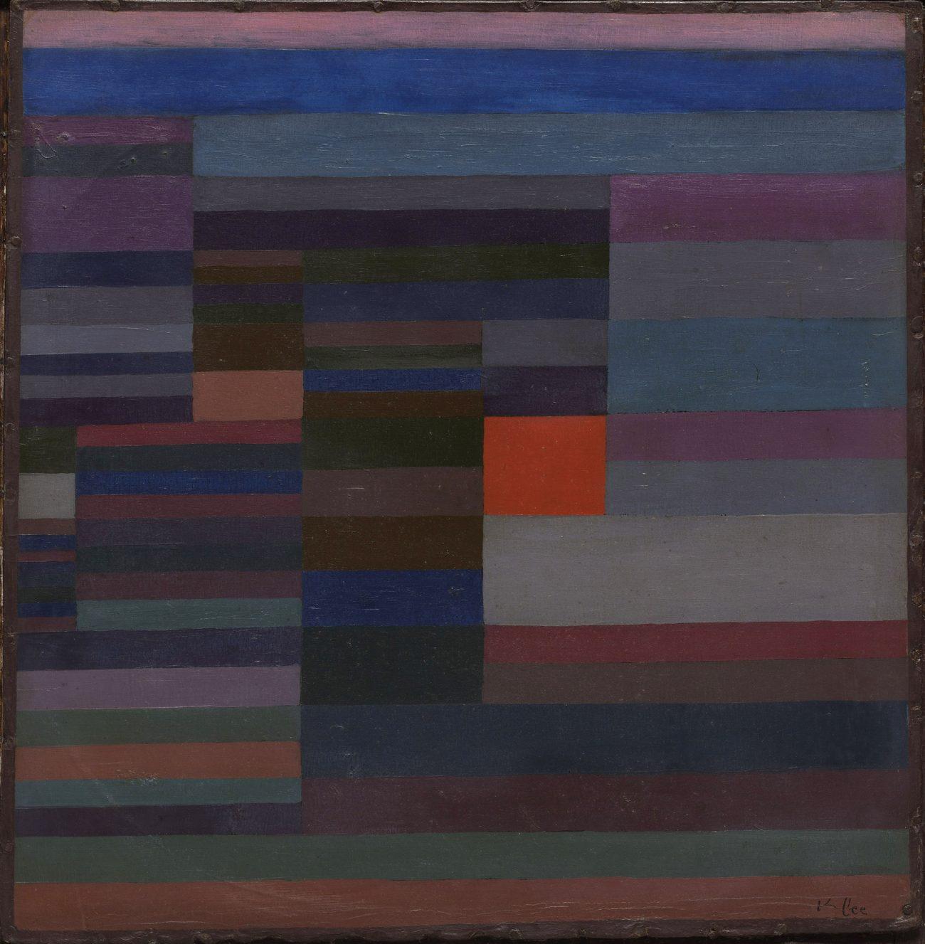 Paul Klee Ausstellung, PAUL KLEE, FEUER ABENDS, 1929, 95, Öl auf Karton, 34 x 35 cm, The Museum of Modern Art (MoMA), New York, Art On Screen - News - [AOS] Magazine